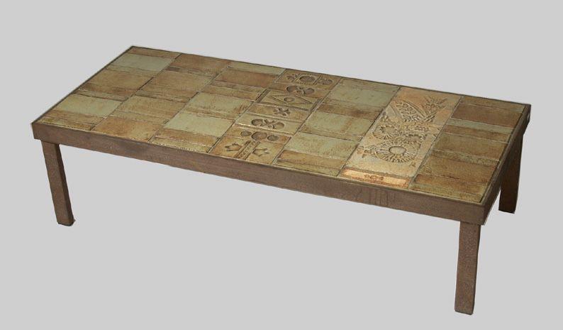 Mod 0058 Roger Capron Vallauris Table De Salon Signee Plateau En Carreaux De Ceramique Table De Salon Table Roger Capron