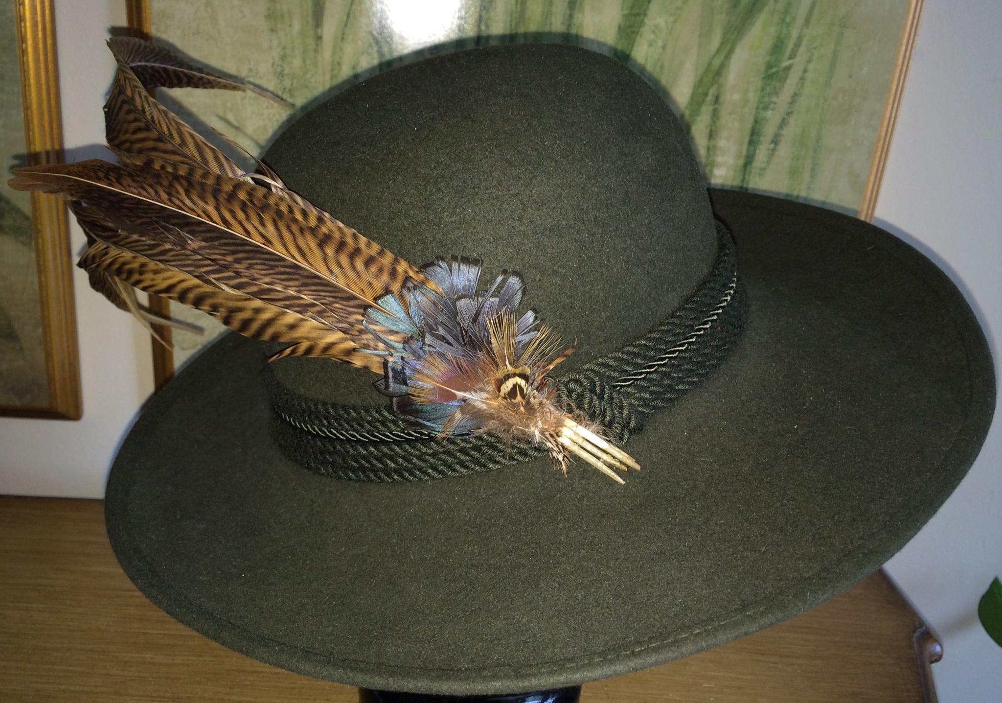 b83a93e58e7 Vintage Loden Green Felt Alpine Tyrolean Ladies Dress Hat   Hats ...