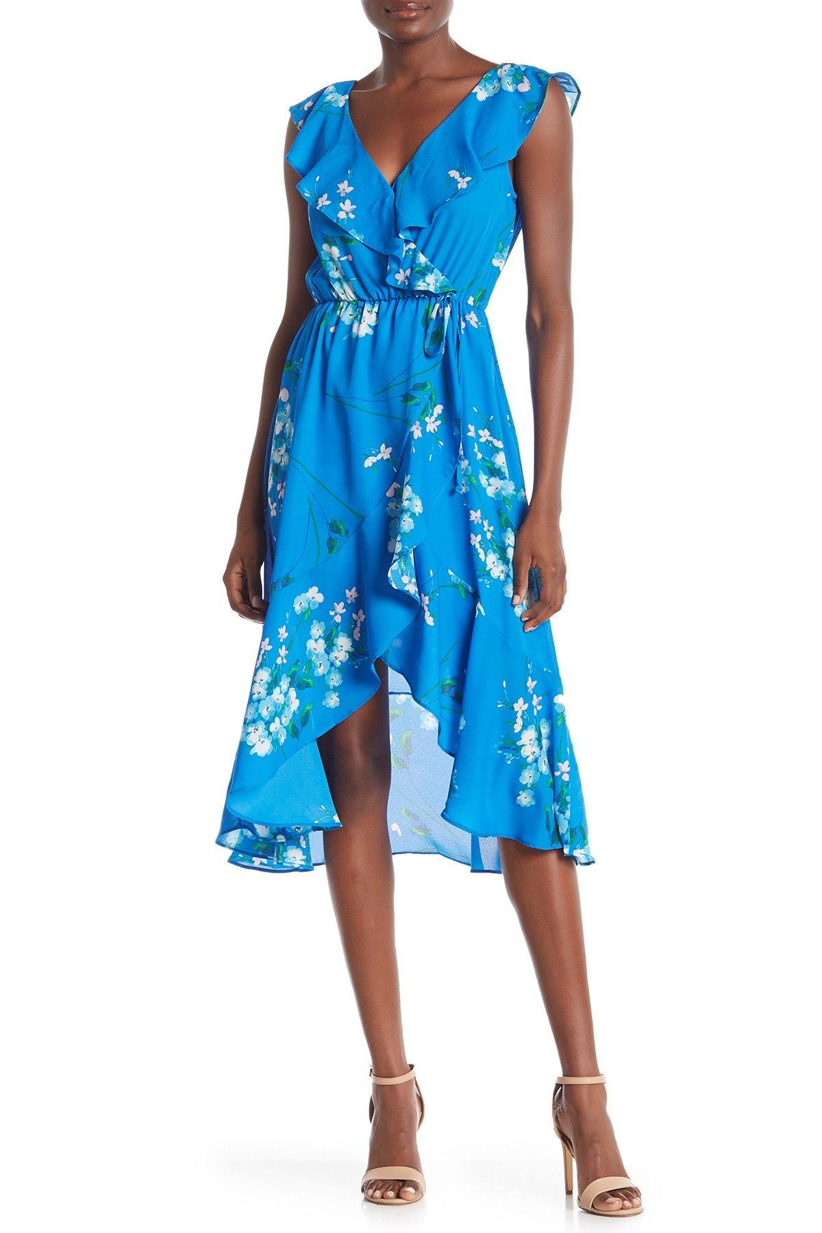 Socialite Ruffled Faux Wrap High Low Midi Dress Nordstrom Rack High Low Midi Dress Bright Blue Midi Dress Midi Dress [ 1800 x 1200 Pixel ]