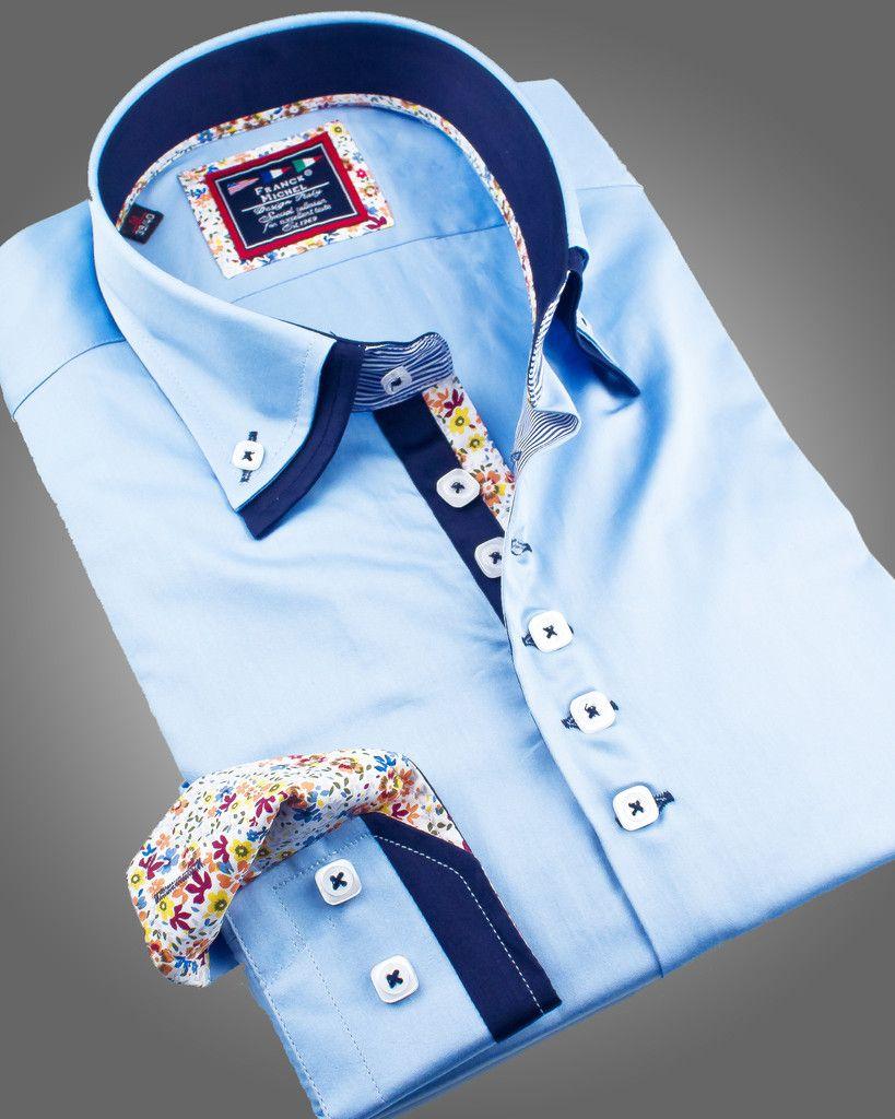 Double collar shirt paris light blue just at for Pin collar shirt double cuff