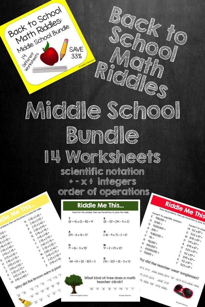 Back to School Math Riddles Middle School Pack
