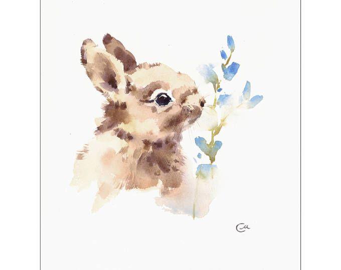 Hase Original Aquarell Malerei 8 1 2 X 11 Zoll Haustiere Tiere