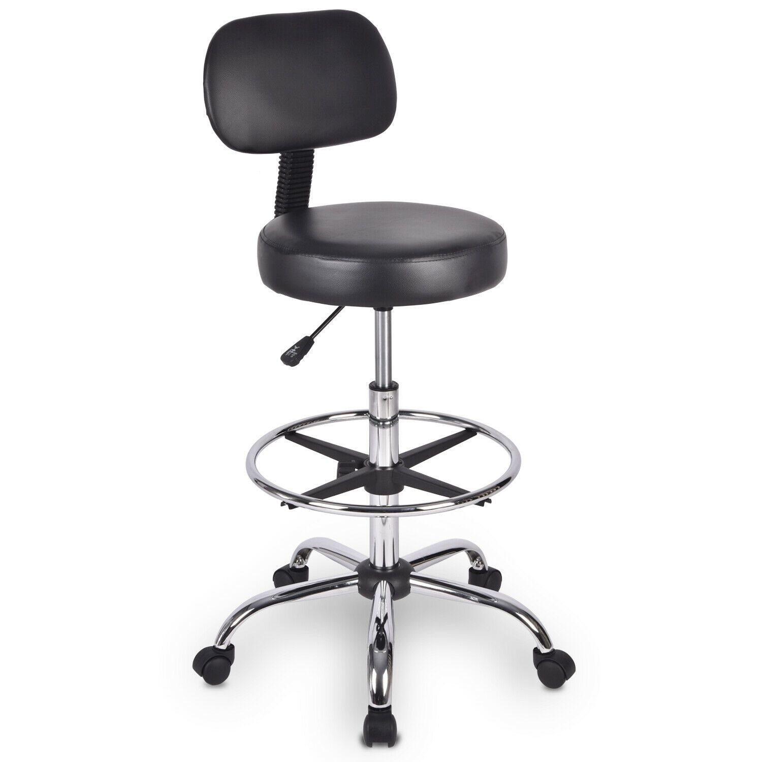 Drafting Stool Rolling Chair with Wheel Height Adjustable Swivel Black