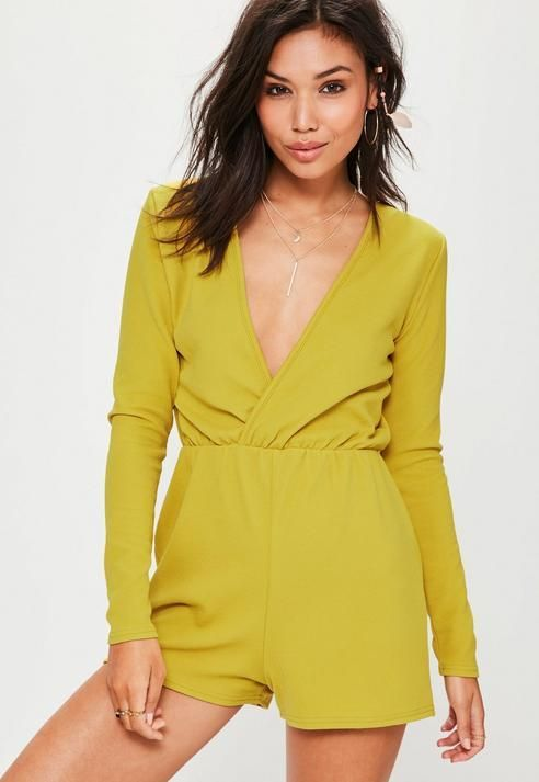 9289a2f46f Missguided Green Crepe Long Sleeve Wrap Playsuit