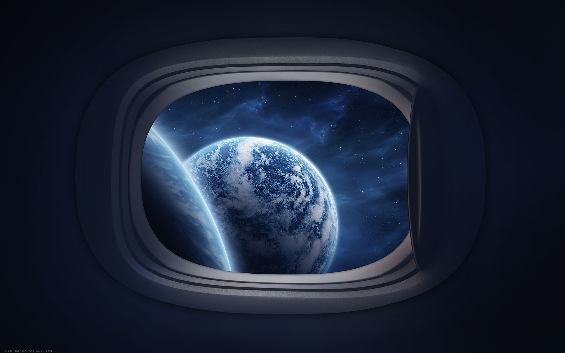 Make a window looking out at space from spaceship bedroom for Space wallpaper bedroom