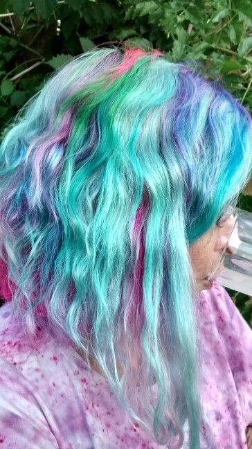 Beautiful mermaid waterfall my granddaughter did for me