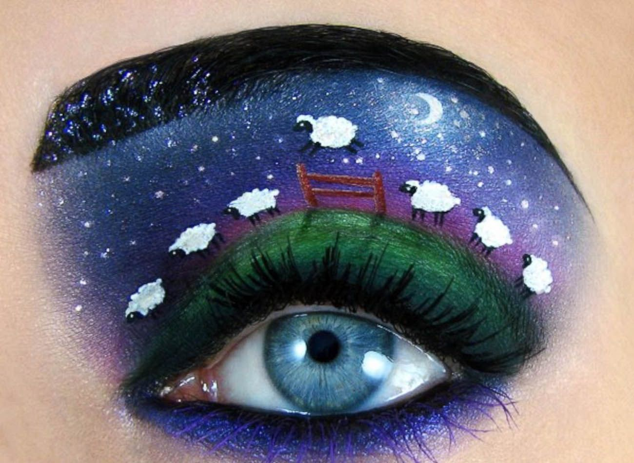 The intricate detail that goes into the work of Israeli makeup artist Tal Peleg is staggering. Fairytale scenes of Moomins and flocks of midnight sheep are minutely painted onto eyelids with a level of complexity and beauty that is truly awe inspiring. They are works of art, they just happen to be on the body.... http://illusion.scene360.com/art/54835/playful-eye-makeup/