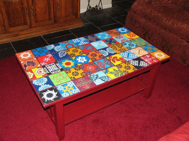 Delightful Faux Mexican Tile Coffee Table I Created Using Individual Squares Of  Watercolor Paper.