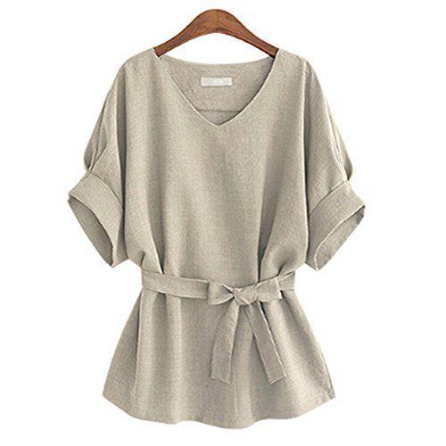 cotton linen shirt solid women fashion plus size loose (xx-large