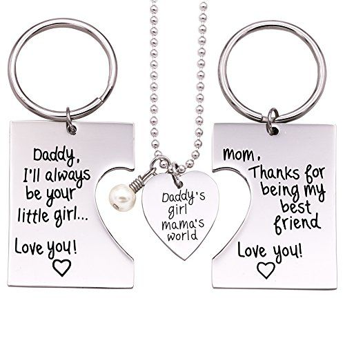 O.RIYA Daddy's Girl Mommy's World 3 Piece Keychain Pendant Necklace Set, Gift for Daughter, Mommys Little Girl, Mums Dad Necklaces Stainless Steel * Check this awesome product by going to the link at the image.