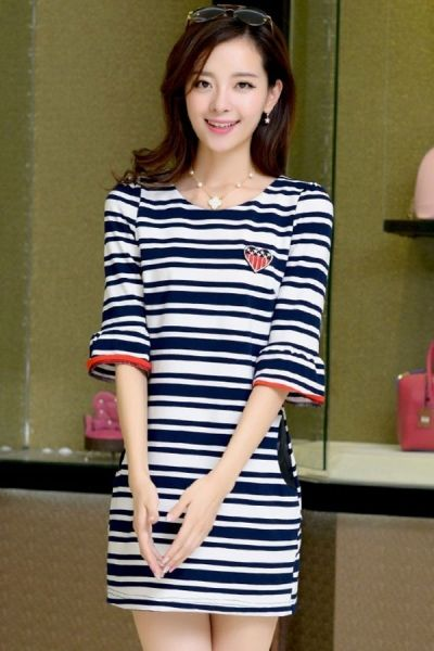 Chic Striped 1/2-Sleeves Dress