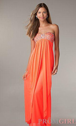Long Strapless Neon Orange Prom Dress By La Glo At Promgirlcom