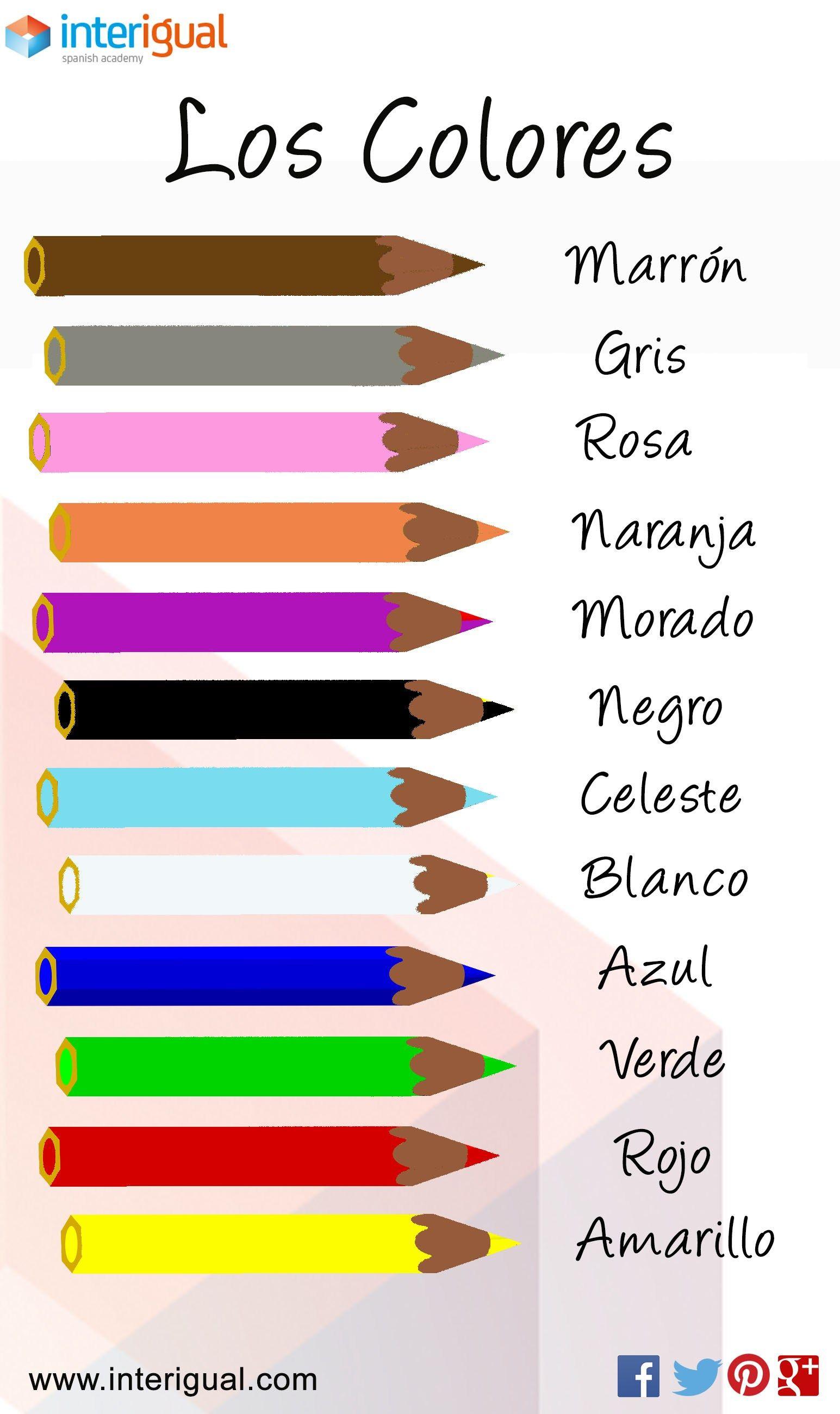 The colors spanish los colores espa ol vocabulario for Colors in spanish