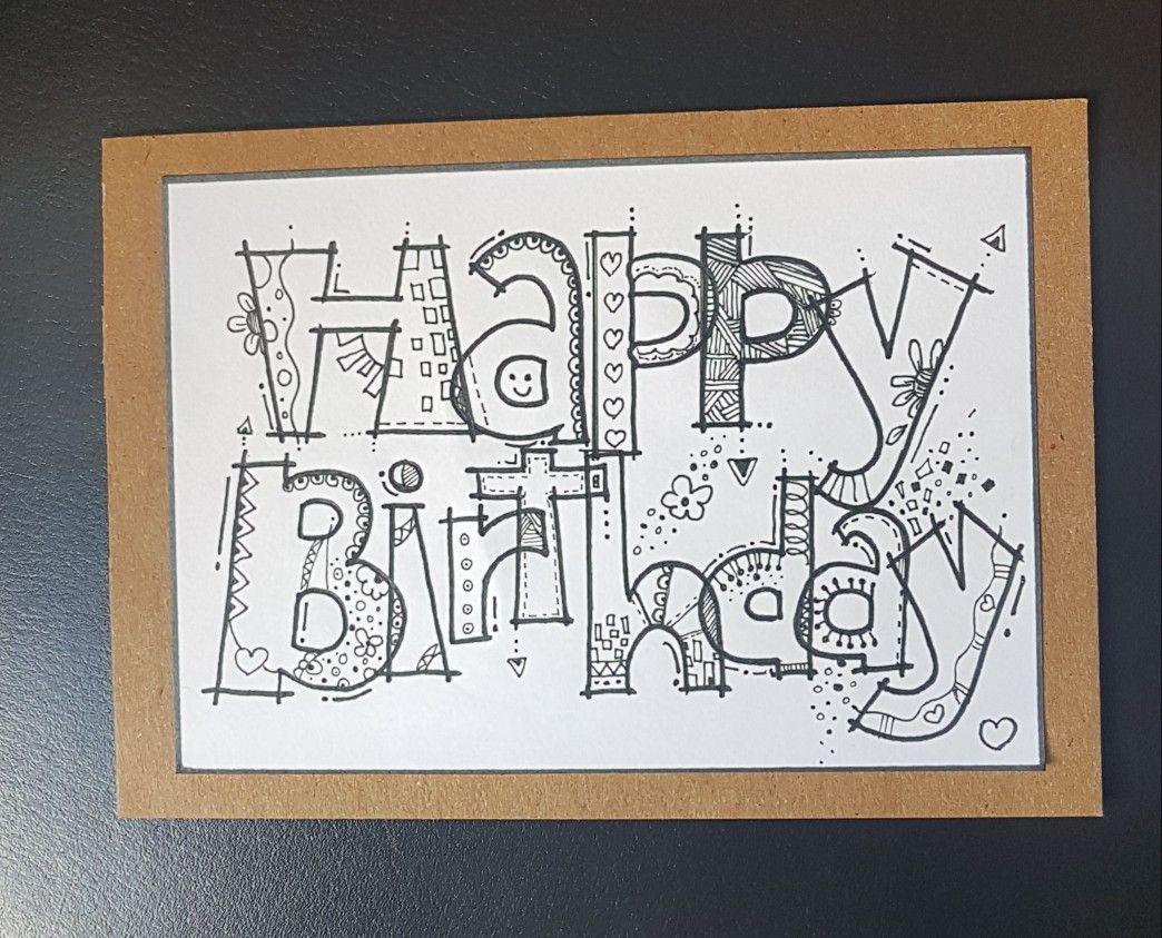 Handlettering Happy Birthday Kaarten Maken Handletteren Verjaardagskaart Ideeen Verjaardag Kaarten