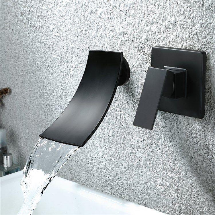 壁付水栓 洗面蛇口 バス水栓 冷熱混合栓 浴槽水栓 水栓金具 滝状吐水口 黒色 水栓 蛇口 壁