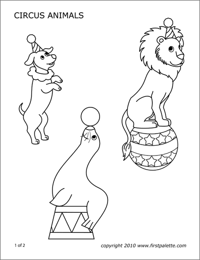 Miniature Circus Characters Free Printable Templates Coloring Pages Firstpalette Com Circus Animals Coloring Pages Circus Activities