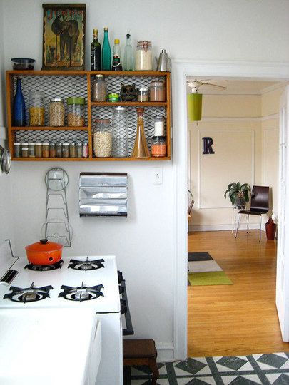 Crate Shelf   Love The Idea Of Putting Chicken Wire Or Metal Mesh Behind It  Instead