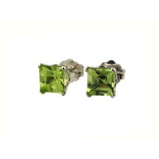 Peridot Earrings 14K White Gold Princess Cut Studs A symbol of