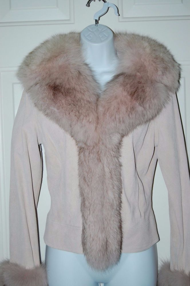 Sheri Bodell Blush Suede Fox Fur Coat Jacket Blush Pink Suede M  #SheriBodell #BasicJacket
