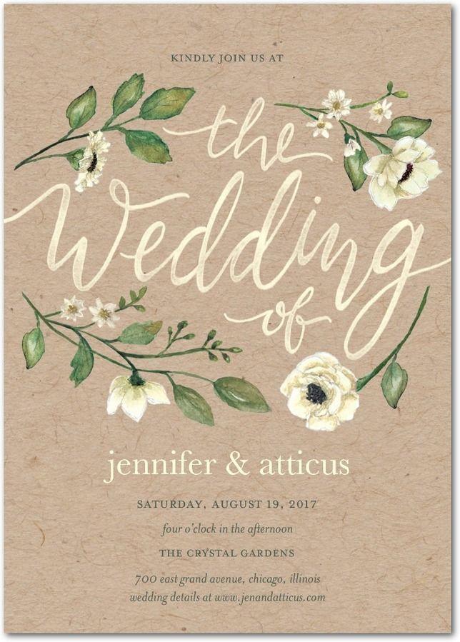 Delightful Blooms   Signature White Wedding Invitations In Bubblegum Or  Violet   Lady Jae