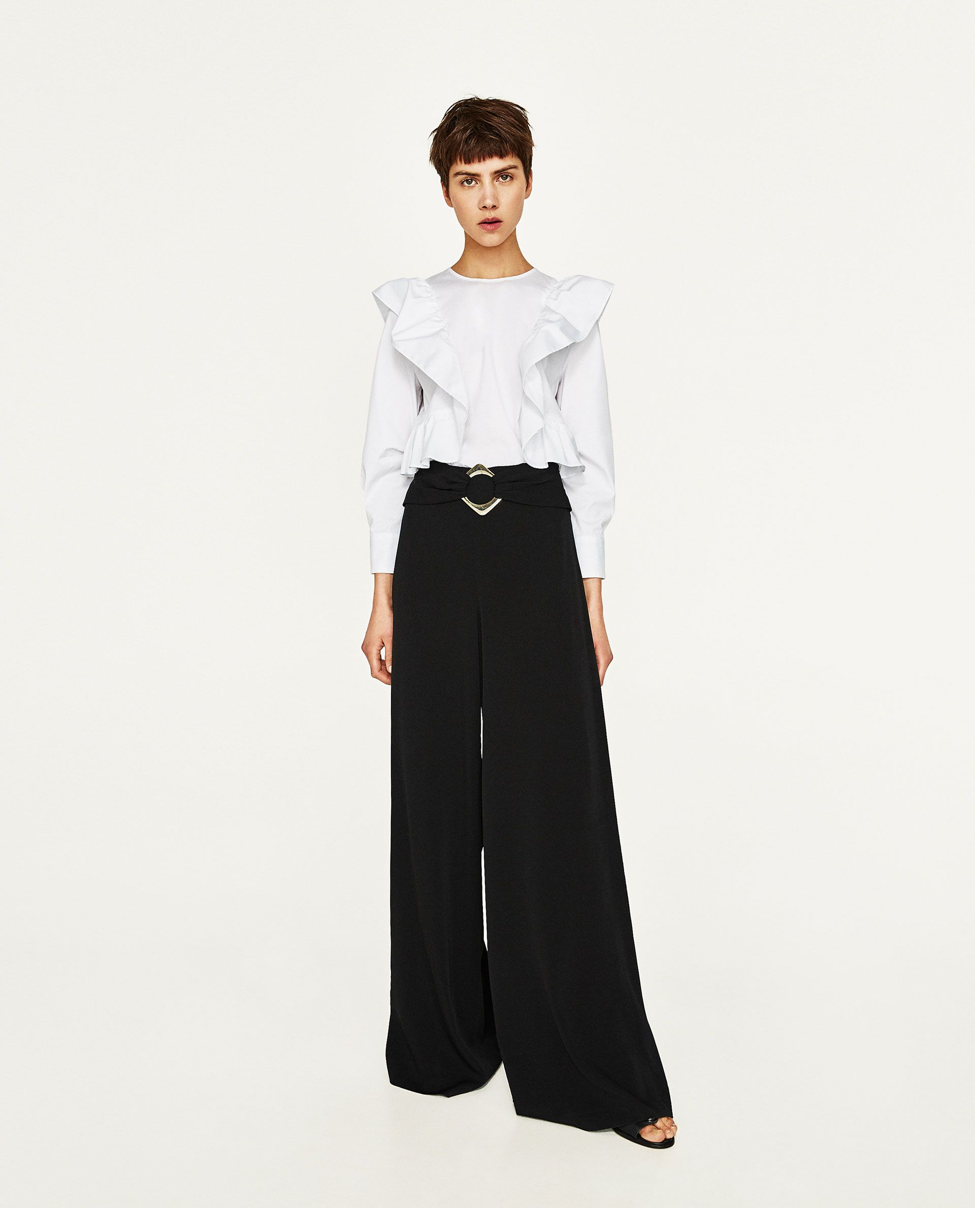 ZARA - WOMAN - WIDE TROUSERS WITH BUCKLED WAIST