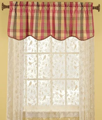 Moire plaid scalloped valance one for sink window and measure for back patio door with side - Country kitchen valances for windows ...