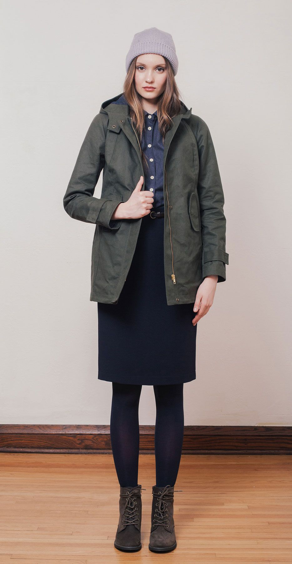 ANOUK Khaki: Hooded parka in water repellent cotton duck ...