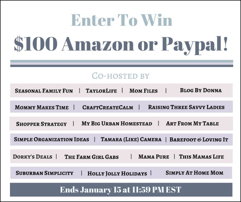 Happy New Year! $100 Amazon or Paypal Giveaway! :http://simplyathomemom.com/2017/01/02/happy-new-year-100-amazon-or-paypal-giveaway/