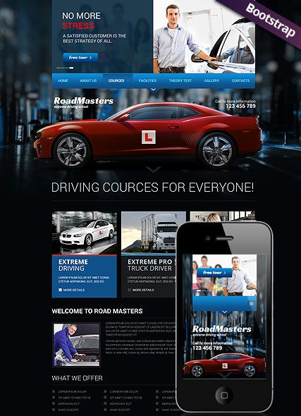 driving school website template bootstrap design responsive html