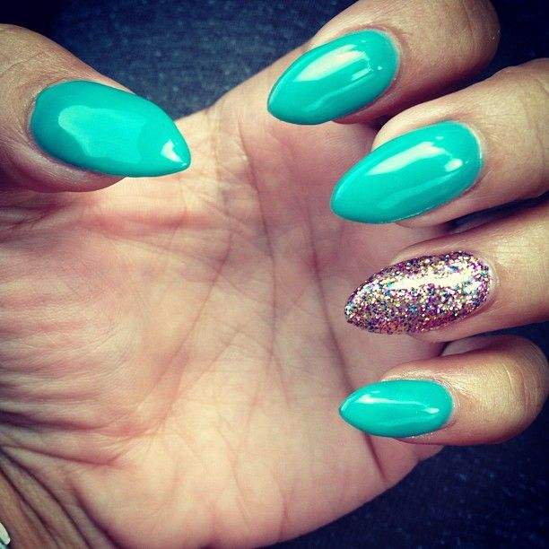 green teal nails glitter gold