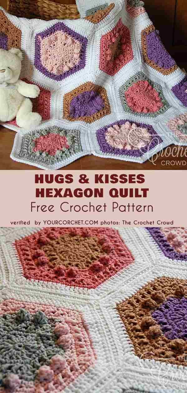 Hugs And Kisses Hexagon Quilt Free Crochet Pattern Afghans