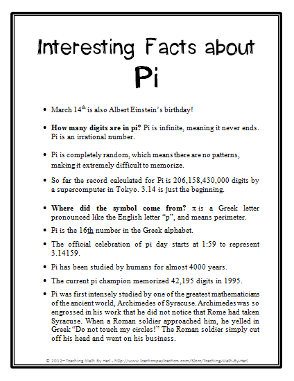 Interesting Pi Facts Pi Day Facts Facts About Pi Math Facts