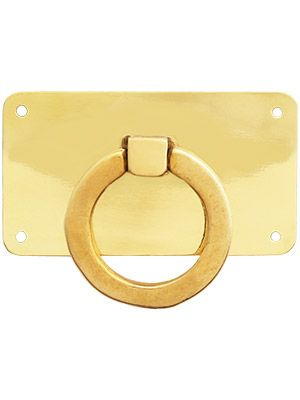 Mission Style Horizontal Drawer Ring Pull In Unlacquered Brass