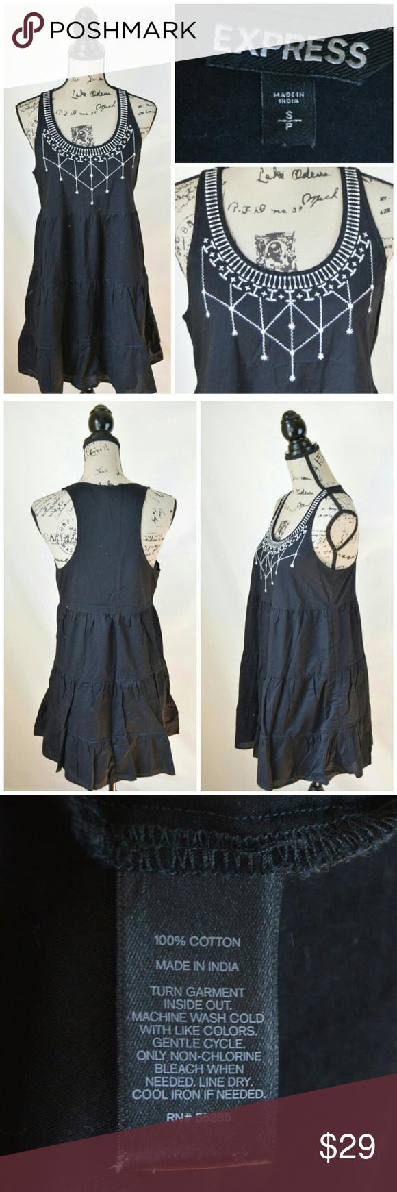 Express Sleeveless Boho Dress White Embroidery Express Dresses