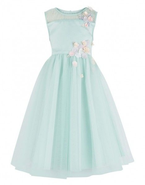 586540519e80 A pastel blue flower girl dress with pastel pink flowers. Via Stay at Home  Mum.com