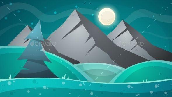 Cartoon Night Landscape Comet Moon Mountains Fonts Logos Icons Landscape Landscape Background Illustration
