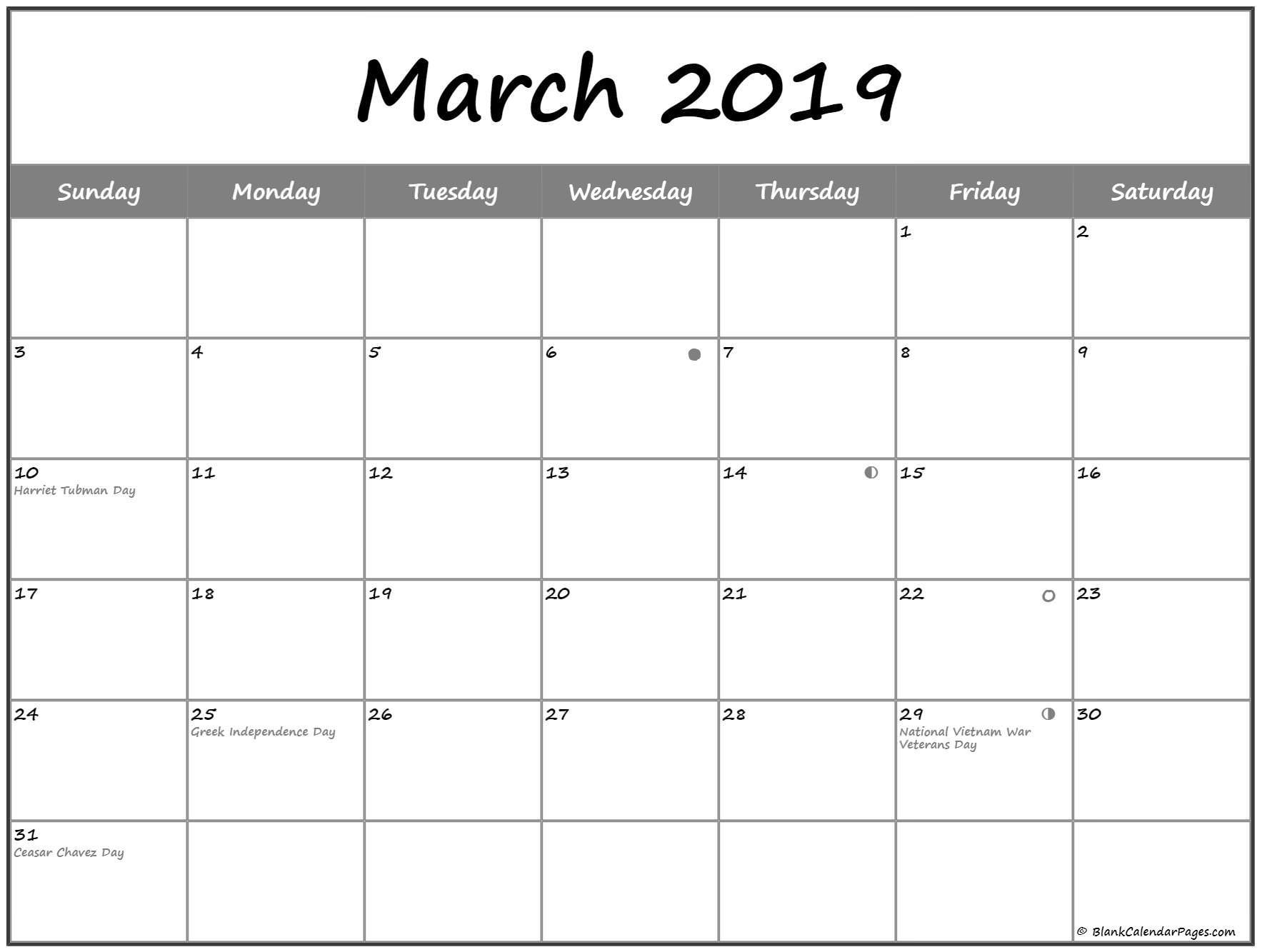 Moon Calendar 2019 Usa March 2019 Lunar calendar. moon phase calendar with USA holidays