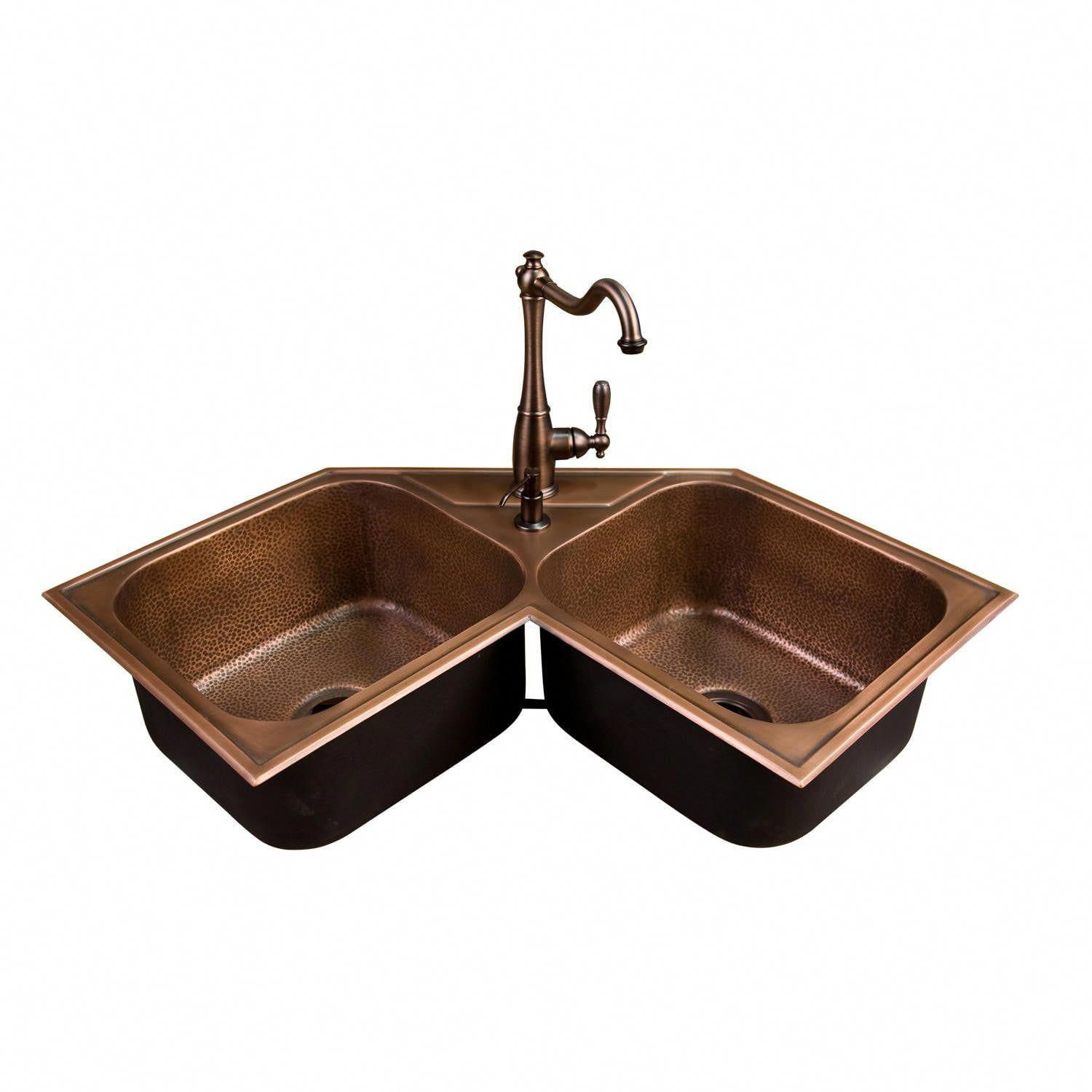 Hammered Copper Double Bowl Drop In Corner Sink In 2021 Corner Sink Kitchen Copper Kitchen Sink Corner Sink