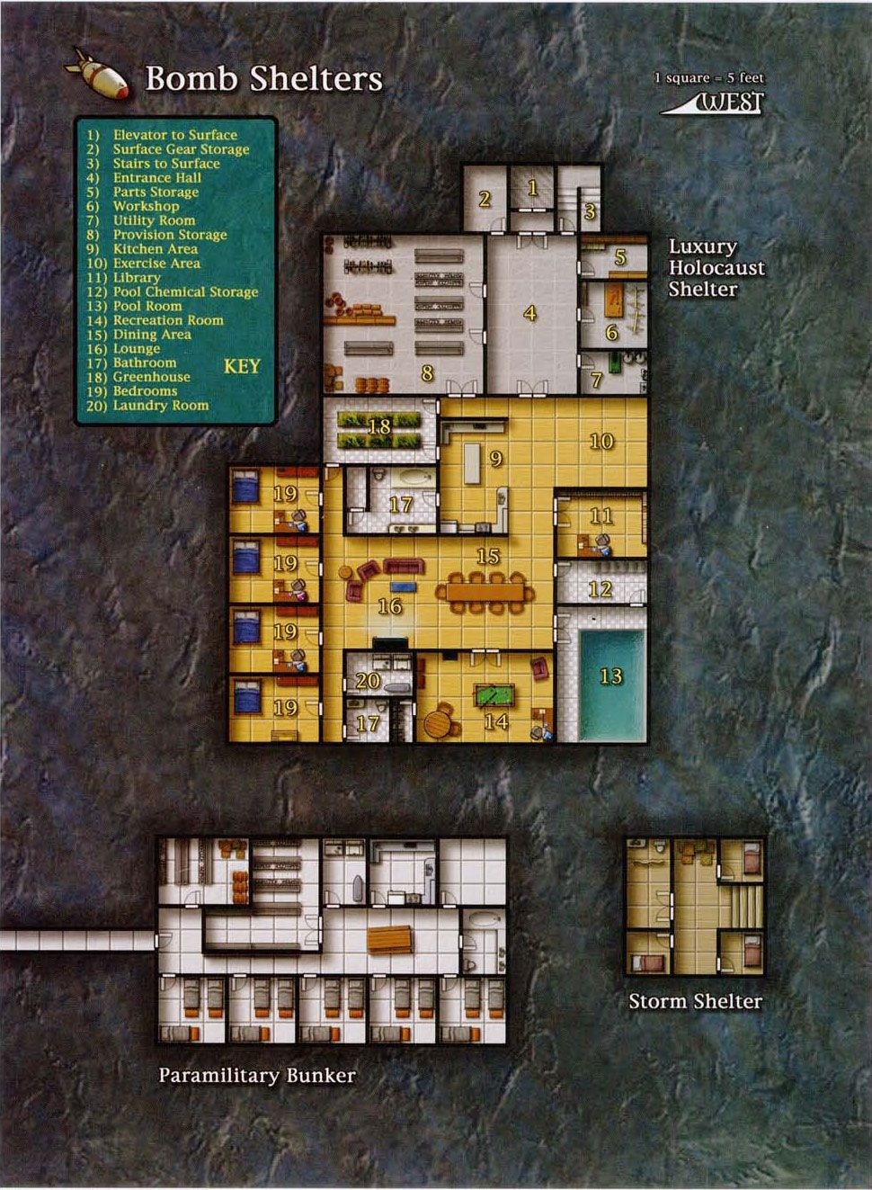 Bomb Shelter (970×1323); shadowrun, floorplan
