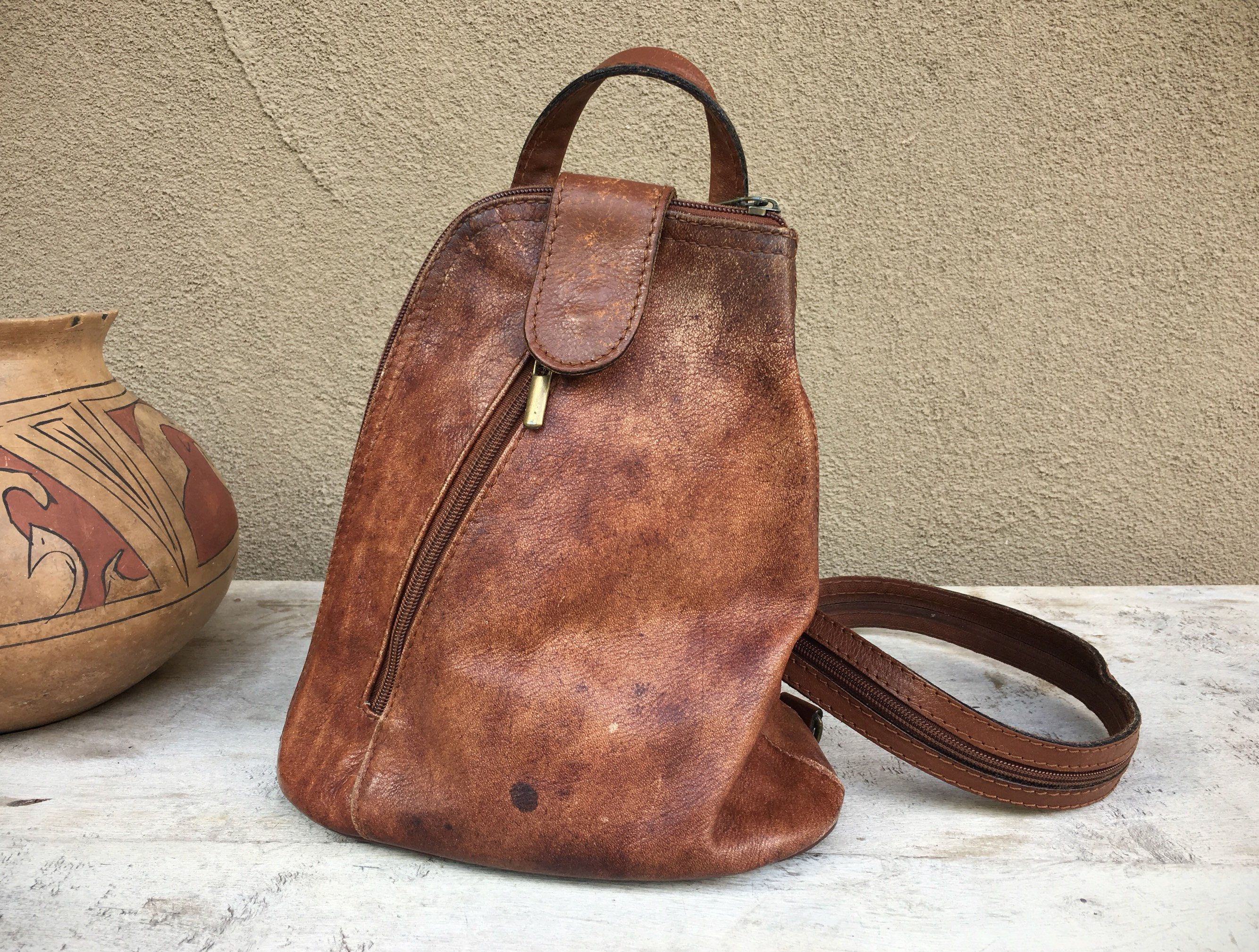 e38492871dd76 Vintage Small Sling Bag Chestnut Brown Italian Leather Single Strap  Backpack Purse for Women or Men