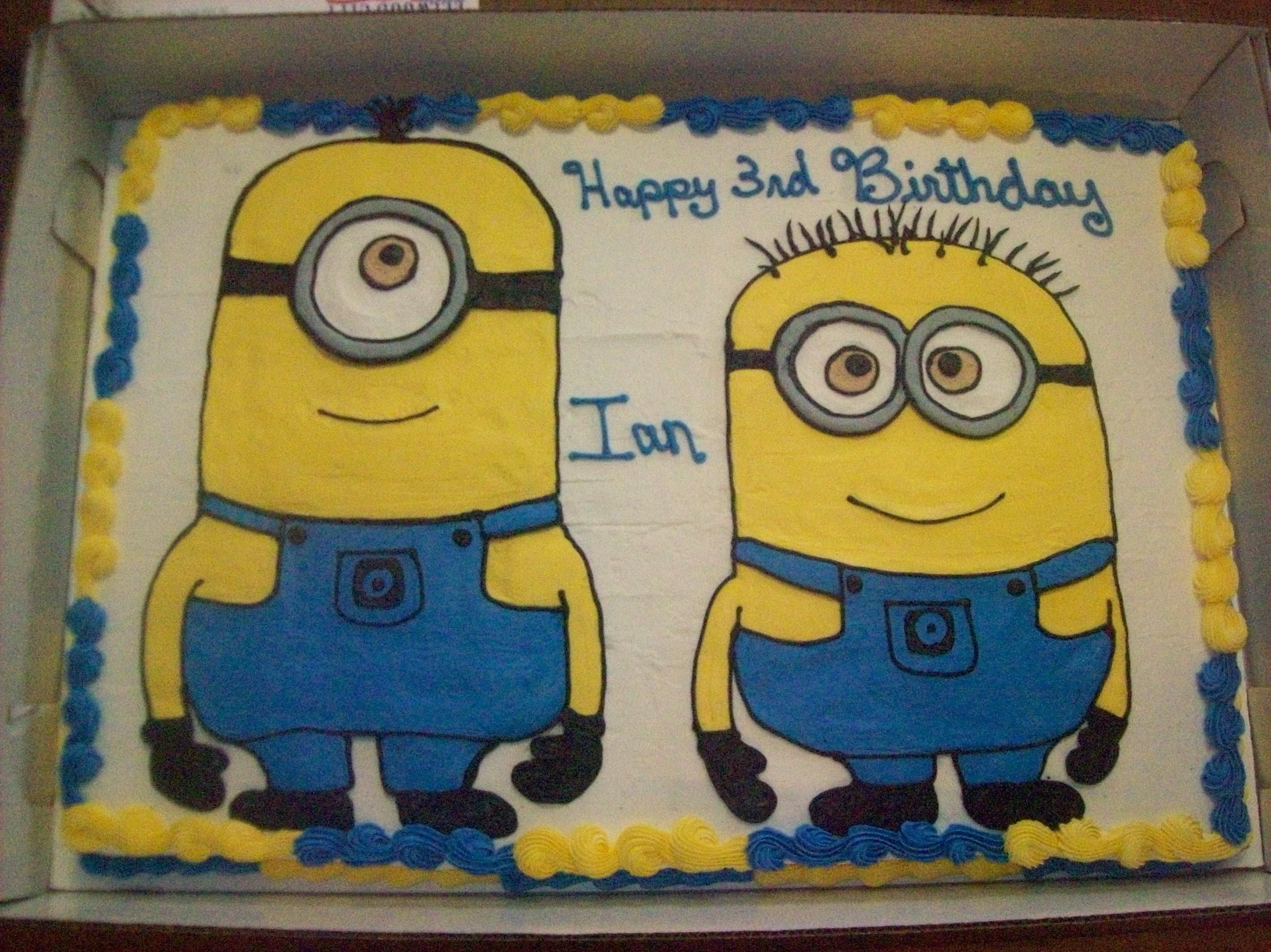 Full Sheet Cake Minions Buttercream Icing With Images Minion