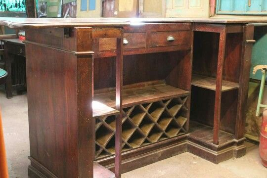 Solid wood bar counter with storage. Classic design, old wood charm ...