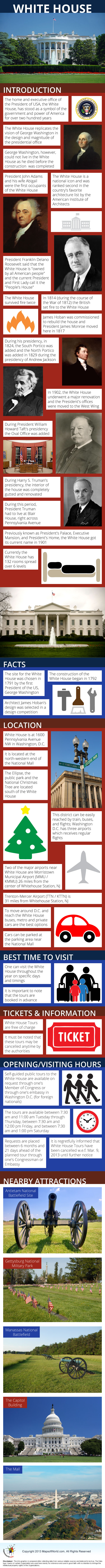 White House Infographic The site for the White House was chosen in 1791 by the first President of the US, George Washington. The construction of the White House began in 1792. Architect James Hoban's design was selected in a design competition.   Read more: http://www.mapsofworld.com/travel/destinations/usa/white-house-washington-d-c#ixzz2rhB1Uudd