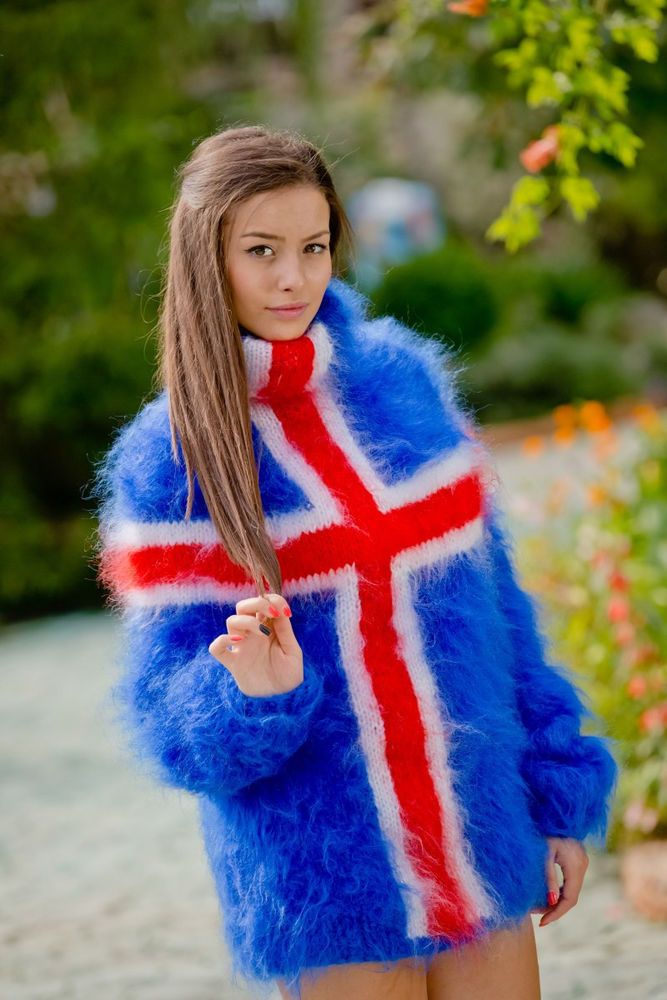 03a312e3202250 Tiffy Mohair Hand Knitted T- neck Icelandic flag Sweater Fuzzy Fluffy S M L  XL #Handmade #Sweater