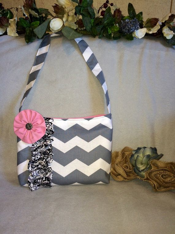 Handmade boutique chick chevron handbag Ruffle style by BerryBagz