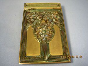 TIFFANY-STUDIOS-BRONZE-NOTE-PAD-HOLDER-FOR-ABALONE-DESK-SET