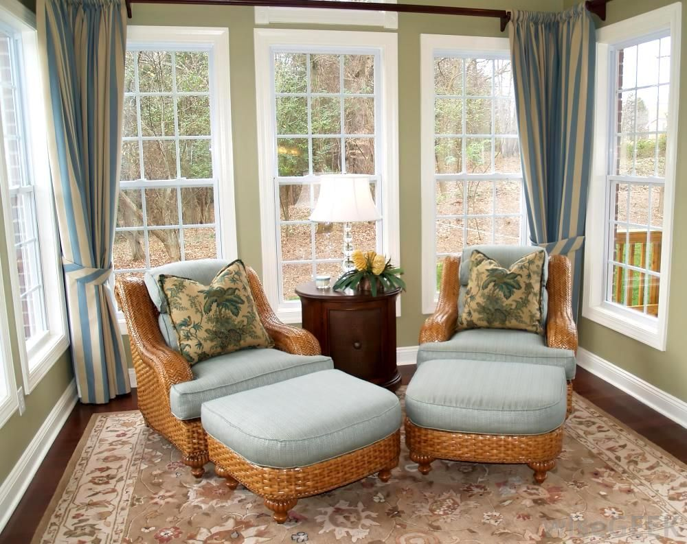 Appealing Sunroom Design Idea in Small Space with Rattan Arm Chair