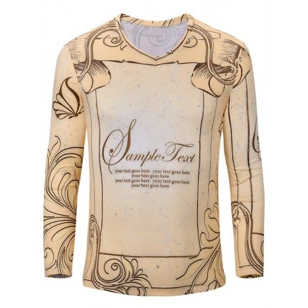 Spring New T Shirt Mens Shirts Fashion 2015 Long Sleeve Tshirts Regular V Neck Print Color Polyester Brand Clothing Tees