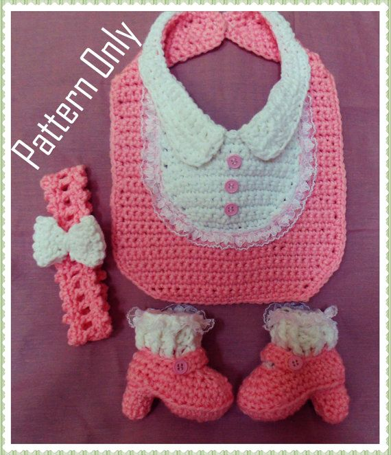 Little Lady Costume Bib, Headband and Heel Crochet Pattern PDF ...