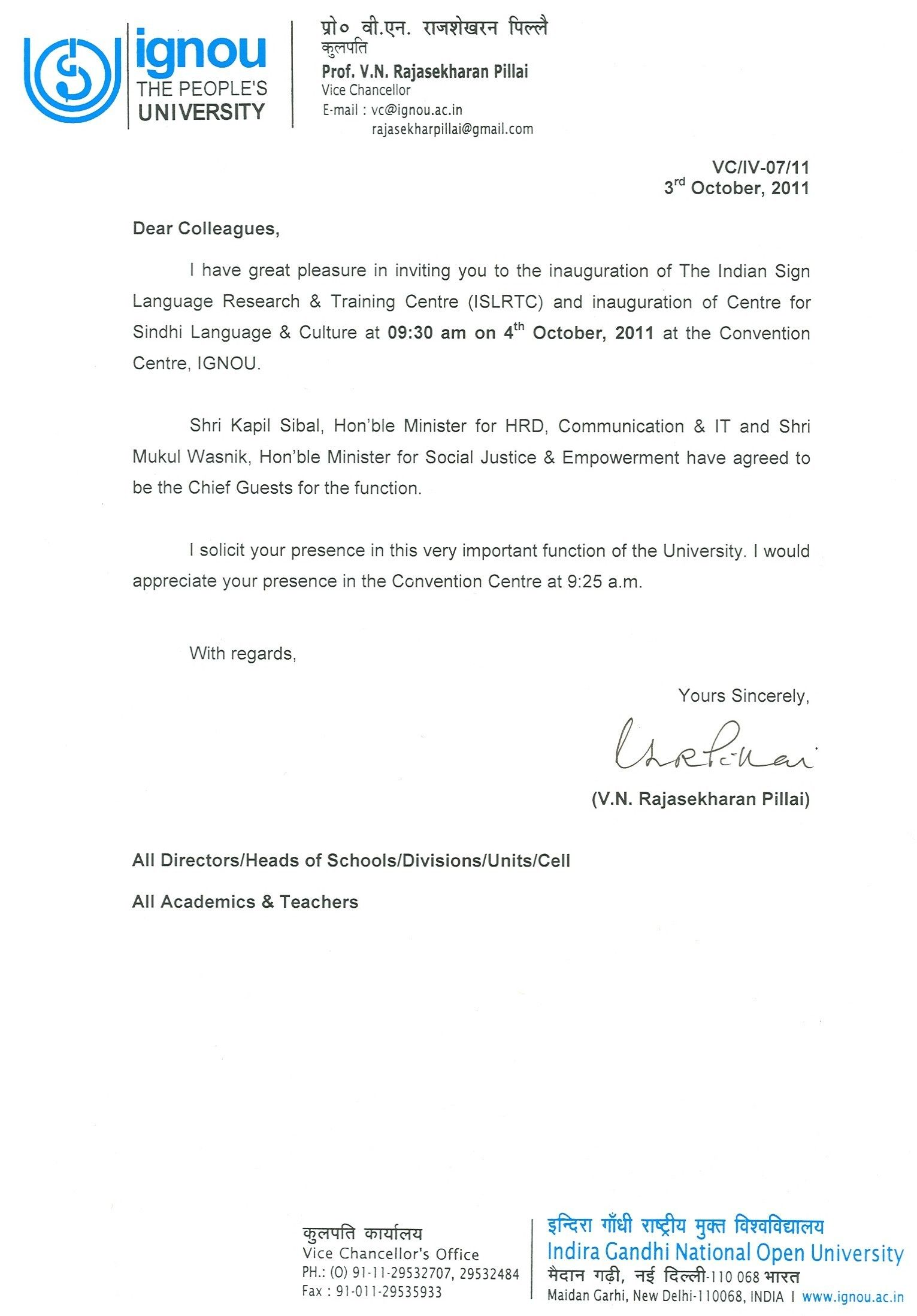 Format Of Invitation Letter For Inauguration To Chief Guest And